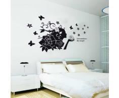Black Bud Beauty Walpus Wand Aufkleber Mauerkunst Sticker Kinder Kinderzimmer Baby Schlafzimmer Rose Mädchen Dekoration
