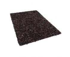 Teppich Shaggy, rechteckig, Leder, 140 x 200 cm, Braun