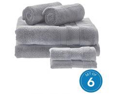 iDesign 6er-Set Badtextilien für das Badezimmer oder Gäste-WC, weiches Handtücherset aus 100% Baumwolle, Handtuch Set mit je 2 Handtüchern, Badetüchern & Waschlappen, grau