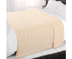 Dreamscene Kunstfell Streifen Weiches Sofa Bett Couch Decke Überwurf, cremefarben, Doppelbett, 150 x 200 cm
