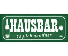 Schatzmix Spruch Alkohol Hausbar täglich geöffnet Metallschild 27x10 cm Wanddeko tin Sign Blechschild, Blech, Mehrfarbig