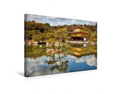 Premium Textil-Leinwand 45 x 30 cm Quer-Format Goldener Pavillon Kinkakuji   Wandbild, HD-Bild auf Keilrahmen, Fertigbild auf hochwertigem Vlies, Leinwanddruck von Michael Kurz