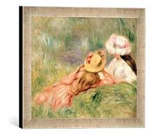 Gerahmtes Bild von Pierre Auguste Renoir Young Girls on The River Bank, Kunstdruck im hochwertigen handgefertigten Bilder-Rahmen, 40x30 cm, Silber Raya