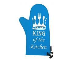 Invotis Ofenhandschuh Topfhandschuh King of The Kitchen blau