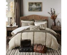 MADISON PARK SIGNATURE Chateau Queen Size Bettdecke 2-in-1 Set Bett in Einer Tasche - Taupe, Soutache Cord Stickerei - 8-teiliges Bettwäscheset - Leinen Schlafzimmer Bettdecken