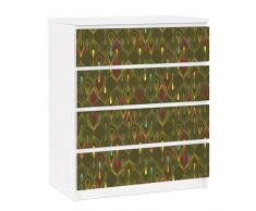 Apalis 91320 Möbelfolie für Ikea Malm Kommode - selbstklebende Pfauenaugen, größe 4 mal, 20 x 80 cm