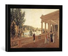 Gerahmtes Bild von AKG Anonymous Pawlowsk, Schloßpark, Pavillon/ Aquarell, Kunstdruck im hochwertigen handgefertigten Bilder-Rahmen, 40x30 cm, Schwarz matt