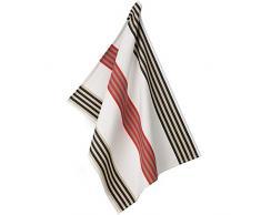 Kela Geschirrtuch Tabea mit schmalem Streifen, Baumwolle, weiß/rot/taupe, 50x 70cm