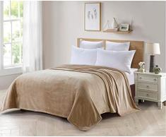 ForenTex Decke für Sofa und Bett, Flanell, 300 g/m², fusselfrei, fusselfrei, weich, warm, Verschiedene Größen und Farben XL-3096, Beige, 270 x 230 cm, 2 Stück