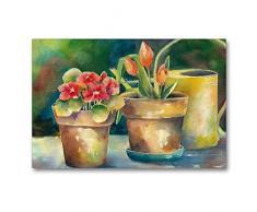 Premium Textil-Leinwand 90 x 60 cm Quer-Format Blumentöpfe   Wandbild, HD-Bild auf Keilrahmen, Fertigbild auf hochwertigem Vlies, Leinwanddruck von Jitka Krause