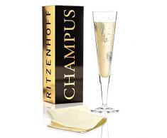 RITZENHOFF Champus Champagnerglas von Werner Bohr, aus Kristallglas, 200 ml, mit edlen Gold- und Platinanteilen, inkl. Stoffserviette