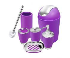 O2 Tech 6-teiliges Badezimmerzubehör-Set aus Kunststoff, Bade-Set mit Lotionsflaschen, Zahnbürstenhalter, Zahnbecher, Seifenschale, Toilettenbürste, Mülleimer violett