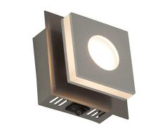 Brilliant G67410/21 Transit LED Wand- und Deckenleuchte mit Schalter, 1-flammig, 4 W, 320 lm, 3000 K, Aluminium/Kunststoff/Nickel, warmweiß