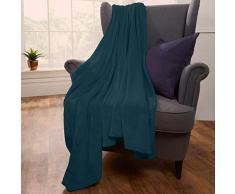 Brentfords Decke aus Flanell und Fleece, Überwurf, blaugrün, Large - 200 x 200cm