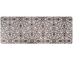 DECO-MAT Rutschfester Teppich-Läufer ohne Rand für den Innenbereich oder Eingangsbereich, 80 x 200 cm, orient modren / siber - grau