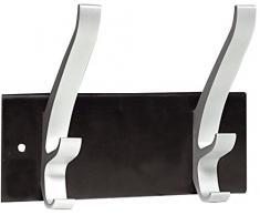 UNILUX 100340804 Wandgarderobe CYPRES schwaz silber mit 2 dreifach Haken aus Aluminium, Halterung aus Stahl mit Epoxy Beschichtung und einer Belastbarkeit bis 50 kg