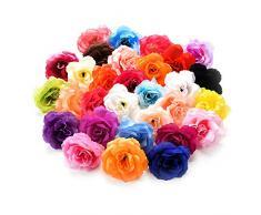 Csoudna Blumenköpfe zum Basteln, künstliche Blumenköpfe aus Seide, zum Basteln, für Dekoration, Hochzeit, Heimdekoration, festliches Zubehör, Party-Dekoration, 30 Stück/Lot 7 cm bunt