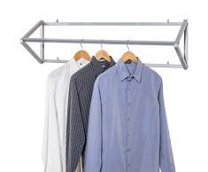 MyGift Moderner Kleiderständer, Metall, silberfarben