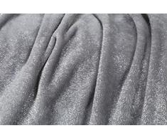 Kanguru Decke Weich Fleece, mit eleganten Glitzer. Kuscheldecke Weich und warm Mikrofaser, ideal für Geschenk Weihnachten oder für bequeme Relax Couch, Chic TV Glitter Moon 130 x 170 cm, 100% Polyester, Grau, Einheitsgröße