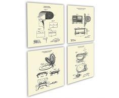 Gnosis Bild Archiv Art Set 4 Kunstdrucke gerahmt WC-Papier Rollenhalter WC-Sitz Patente WC crm4 a