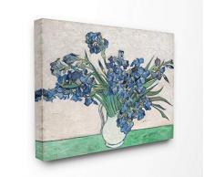 Stupell Industries Leinwandbild, Blumentopf, blau, grün, Van Gogh, klassisches Gemälde Gemälde, über Leinwand gespannt 24x30 Design vom Künstler Vincent Van Gogh.