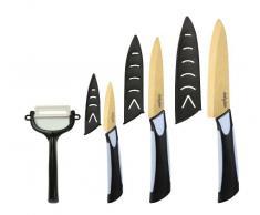 Dailycious Messer-Set, Keramik, goldfarbene Titanium-Klinge, zweifarbiger Griff aus schwarzem ABS und grauem Silikon, 1 Chefmesser (15cm), 1 Universalmesser (12,5cm), 1 Gemüsemesser (7,5cm), inkl. Gemüseschäler und Schutzhüllen