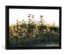 Gerahmtes Bild von Andrew Nicholl Poppies, Daisies and Thistles on a River Bank (Pair of 85964), Kunstdruck im hochwertigen handgefertigten Bilder-Rahmen, 60x40 cm, Schwarz matt