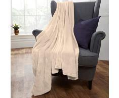 Brentfords Decke aus Flanell und Fleece, Überwurf, Cremefarben, Medium - 120 x 150cm