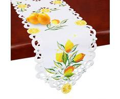 Simhomsen Bestickt Lemon Läufer, Tisch Dekore für Frühling und Sommer 14 by 70 inch Weiß