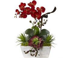 Nearly Natural Fast Natur Seasonal Orchidee und des frischen Garten mit Übertopf, Burgund