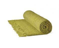 Rapport Aspen Basket Weave Baumwolle Überwurf, weinrot, 150 x 200 cm-p, Baumwolle, olivgrün, Einzelbett