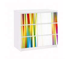 Apalis 91745 Möbelfolie für Ikea Malm Kommode Rainbow Stribes, größe 3 mal, 20 x 80 cm