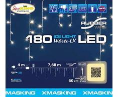 Stalattite 7,6 x 0,6 m, 180 warmweiße LEDs, Kabel weiß, mit Memory Controller, Lichtervorhang, Weihnachtsbeleuchtung