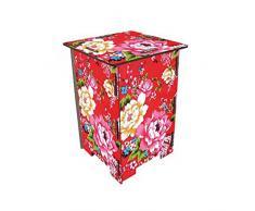 Syltiges 30057-Bunte Blumen Sitzhocker, bunt, 29,50 x 29,50 x 42 cm
