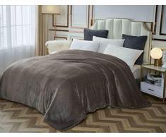 Flanell-Fleece-Decke, leicht, warm, flauschig, Thermo, gemütlich, Bettdecke aus Mikrofaser, solider Samt, Plüsch, Überwurf für Couchstuhl, Bett, alle Jahreszeiten, King-Size-Doppel-Überwurf, Größe Modern King grau