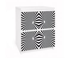 Apalis 91147 Möbelfolie für Ikea Malm Kommode - Selbstklebe Psychedelisches, Muster, größe 2 mal, 20 x 40 cm, schwarz / weiß