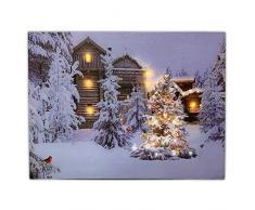 Banberry Designs Leinwandbild mit Weihnachtsbeleuchtung, 12 x 40,6 cm, mit Kardinals und Bäumen im Winter, mit LED-Lichtern