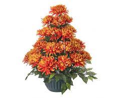 Ligne Déco 481331WO-F Grabschmuck, Kunstpflanze mit beschwertem Topf, Strauß mit 31 Chrysanthemen, 70cm