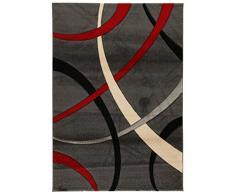 VIVA 19008 ABC Teppich, Synthetikfaser, dunkel grau / rot, 190 x 133 x 1.6 cm
