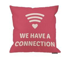HGOD Designs Love Kissenbezug, witzig, modisch, WiFi-Herz, wir haben eine Verbindung, Baumwolle, Leinen, Polyester, Dekoration, Sofa, Schreibtisch, Stuhl, Schlafzimmer, 40,6 x 40,6 cm 18x18 Inch A3-0061