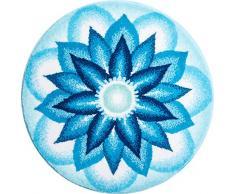 Grund Badteppich 100% Polyacryl, ultra soft, rutschfest, ÖKO-TEX-zertifiziert, 5 Jahre Garantie, HIMMLISCHER FRIEDEN, Badematte 100 cm rund, blau