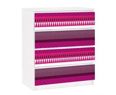 Apalis 91321 Möbelfolie für Ikea Malm Kommode - selbstklebende Pink Ethnomix, größe 4 mal, 20 x 80 cm