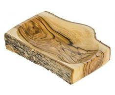 Holzschale, Olivenholz mit Borke, Rechteckig, Fair Trade, Handgefertigt