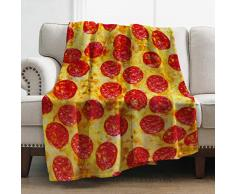 Levens Überwurf, weiche Decke für Bett Couch Sofa, leicht, für Reisen, Camping, Überwurf für Kinder, Erwachsene, 127 x 152 cm Pizza