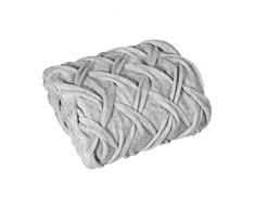 Eurofirany Decke Tagesdecke Wohndecke Silber Flauschig Super Weich Geflochten Wohnzimmer Schlafzimmer Couchdecke Sofadecke Überwurf, 130X170cm