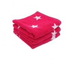 LASA Handtuch Stars – Für Frisiertisch, 33 x 50 cm, Waschbecken, 50 x 100 cm 100 x 150 cm rosa