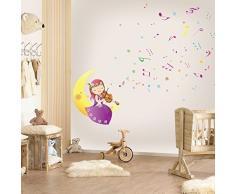 Walplus Wand Sticker Aufkleber Papier Kunst Dekoration Mond Melodie Kinderzimmer