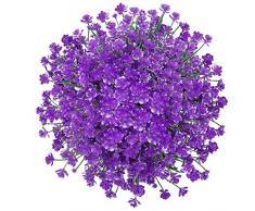 GREENRAIN 6 Bündel künstliche Blumen Lotusblüten für den Außenbereich, UV-beständig, kein Verblassen aus Kunst-Kunststoff, für Garten, Veranda, Fenster, Box Dekoration 13 * 6.5 violett