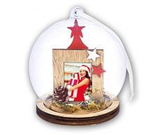 ZEP S.r.l. Alesund Weihnachtskugel, Holz, Rot, Weiß, Natur und Klar, Für Bildformat 3,5 x 4,4 cm, Durchmesser 9 cm