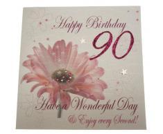 WHITE COTTON CARDS, Partydekoration für 90. Geburtstag, Blumenmuster, Handgefertigt, Weiß